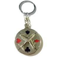 Tech Fashion Aero Plane Playing Card Symbols Locking Keychain (Red, Black)