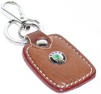 Aura Skoda Cars Imported Metal & Leather Locking Keychain (Brown, Silver)