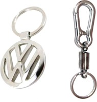 City Choice Combo Of Volkswagen & Sprig Hook Locking Key Chain (Chrome)