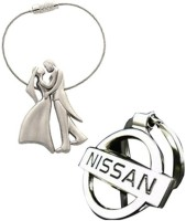 Confident Set Of 2 New Standing Couples And Nissan Car Logo Key Chain (Silver)
