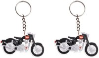 Chainz RoyalEnfield Pack Of 2 Bike Shaped Rubber Keychain (Multicolor)