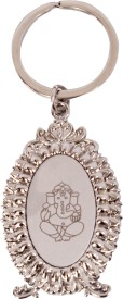 Lehar Toys Metallic Silver Finish Ganesha Key Chain Locking
