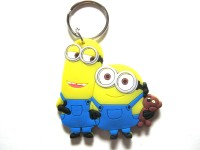 Optimum Deal Cute Despicable Me Caroon Movie Figure (D5) Double Sided Rubber Key Chain (Multicolor)