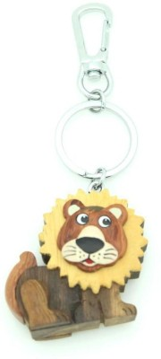 Thinksters Handcrafted Wooden Lion Keychain (Brown, Yellow)