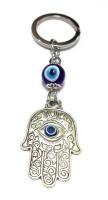 Tech Fashion Palm Shape 2 Blue Eye Ball Bead Locking Keychain (Silver)