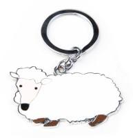 Thinksters White Sheep Keychain Carabiner (White)