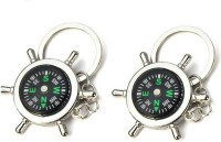 Chainz Pack Of 2 Metal Compass Keychain (Silver)