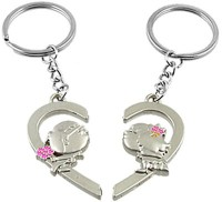 Shopngift Kissing Lovers Heart Shaped Key Chain (Silver)