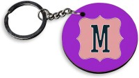 Tiedribbons Alpha M Wooden Circle Spring Gate Key Chain (Multicolor)
