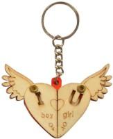 CTW Pine Wood Photo Frame Heart Design Keychain (Red & Cream)