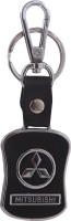 Oyedeal Kycn650 Mitsubishi Leather Metal Locking Key Chain (Black)