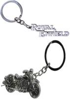 Alexus Royal Enfield Metal And Bike Key Chain (Silver)