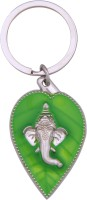 Tech Fashion Ganesh Ganpati Lord Green Leaf Chrome Silver Locking Key Chain (Green, Silver)