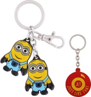 JLT Double Minions Premium Metal Locking Key Chain (Multicolor)