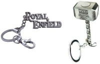Chainz Royal Enfield Hook And Thor Hammer 3D Key Chain (Silver)