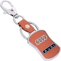 U. R. God HQ Audi Leather & Metal Car Logo Locking Key Chain (Brown)