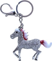 Dealfinity Red And White Studded Horse Metal DKYCN1567 Locking Key Chain (Multicolor)