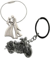 Chainz Bride Groom And Chopper Bike Metal Keychain (Silver)
