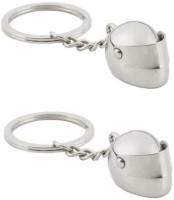 Confident Set Of Two 02 Metal Helmet Keychain (Silver)
