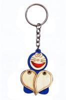 CTW Pine Wood Doremon Face Heart Photoframe Keychain (Blue)
