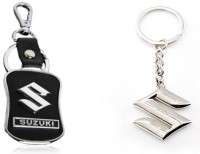 City Choice Combo Of 2 Suzuki Keychains Locking Key Chain (Black & Chrome)