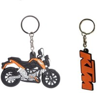 Chainz Ktm Duke Bike Shaped And Logo Silicon Keychain (Multicolor)