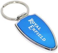 Aura Royal Enfield Imported Metal Locking Key Chain (Blue, Silver)