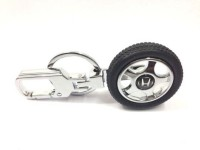 City Choice Honda Wheel Locking Key Chain (Black & Chrome)