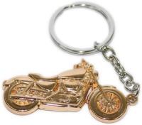 Aura Royal Enfield Bike Shape Full Metal Imported Locking Key Chain (Gold)