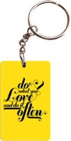 Shoppers Bucket Do What You Love Wooden Rectangle Keychain Key Chain (Yellow, Black, Brown, Multicolor)