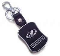 Aura Mahindra Cars Metal & Leather Imported Locking Keychain (Black, Silver)
