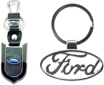 City Choice Ford Leather Metal Hook Combo Locking Key Chain (Chrome & Black)