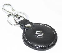 Aura Maruti Suzuki Imported Metal & Leather Locking Keychain (Black, Silver)