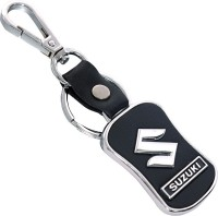 U. R. God Hq Suzuki Leather & Metal Car Logo Locking Key Chain (Black)