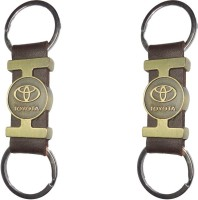 Singh Xpress Key Chain- Tri Material Brass Leather Toyota(Pack Of 2) Key Chain (Black)