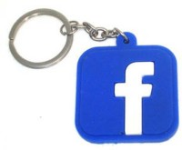 Butterfly Facebook Logo Soft Rubber Key Chain (Blue)
