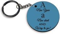 Tiedribbons A New Year Wooden Circle Key Chain (Multicolor)
