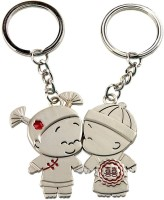 CTW Cute Tiny Miny Kissing Couple Metal Key Chain (Silver)