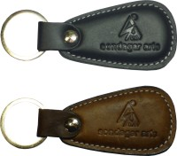 Sondagar Arts Classic Genuine Leather Men's Key Chain (Black And Brown)