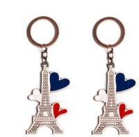 Chainz Pack Of 2 Premium Metal Eiffel Tower Keychain (Multicolor)