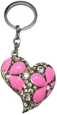 City Choice Studded Pink Heart Keychain