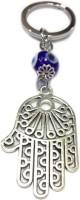 Tech Fashion Palm Shape 4 Cm Blue Eye Ball Locking Keychain (Silver)