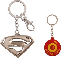 JLT Superman Metal Full Silver Premium Locking Key Chain (Multicolor)