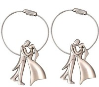 Phoenix Pack Of 2 Bride & Groom Metal Wire Locking Locking Key Chain (Silver)