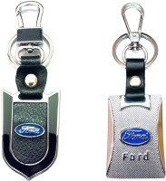 City Choice New Ford Leather-Metal Hook Locking Key Chain (Multicolor)