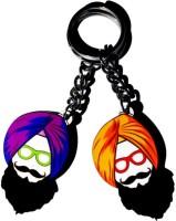 MiiCreations Punjabi Singh Beard Set Of 2 Key Chain (Purple, Orange)