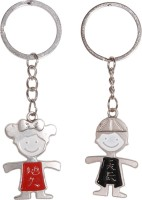 CTW Mini Boy Girl Couple Love Keyring Key Chain (Silver)