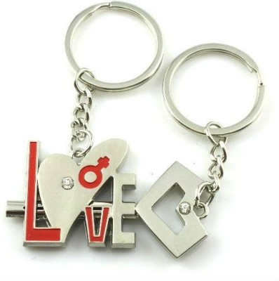 CTW Love Text Heart and Key Valentine Gift Pack Of 2 Keychain