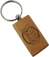 Tiedribbons Super Husband Wooden Key Chain (Brown)