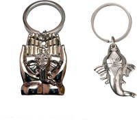 City Choice Combo Of Lord Ganesha & Palm Ganesha Key Chain (Chrome & Mate Chrome)